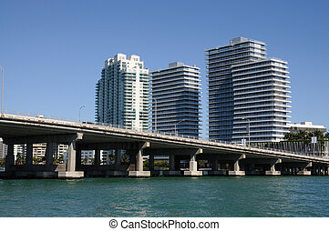 Downtown Miami with the Biscayne Bay Bridge in foreground,...