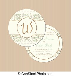 Round, double-sided wedding card