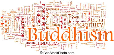 Buddhism word cloud - Word cloud concept illustration of...