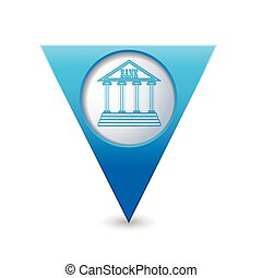 Map pointer with bank building icon - Blue triangular map...