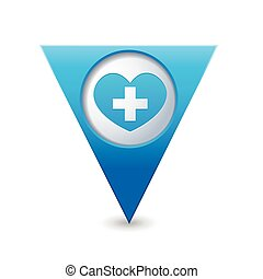 Medical heart icon with cross