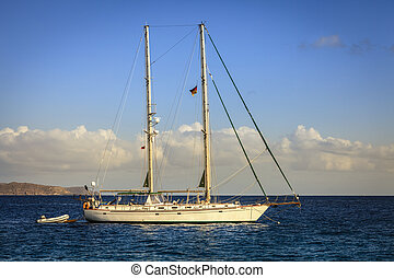 Schooner at Caribbean Sea in British Virgin Islands