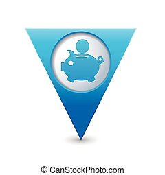Map pointer with piggy bank icon - Blue triangular map...