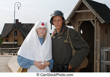 Retro styled picture with nurse and soldier - Old style...