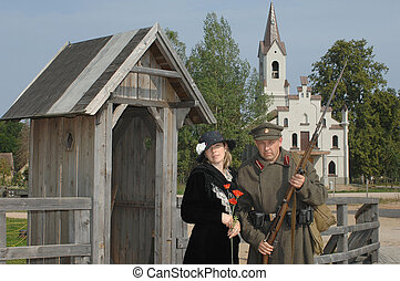 Retro style picture with woman and soldier - Old style...