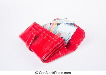 wallet. woman wallet with money on a background - wallet....