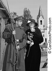 Retro style picture with woman and soldier