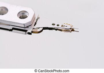 Closeup of an open hard disk drive