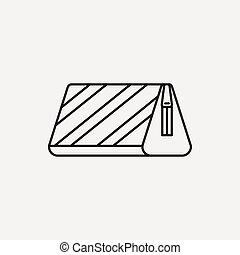 pencil case line icon