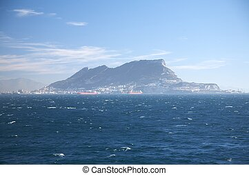 the rock of gibraltar from ocean - bay of algeciras and...