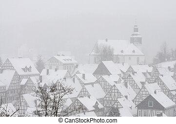Ośnieżony, Ryglowy, Domy, Niemiec, miasto, Freudenberg