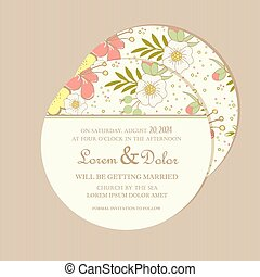 Round floral wedding invitation