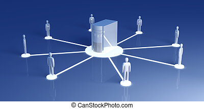 Network Collaboration - Connected Team. 3D rendered...