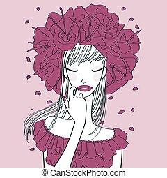 purple flower lady