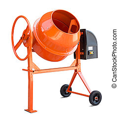 Concrete mixer isolated with clipping path included -...