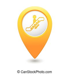 Map pointer with escalator icon Vector illustration