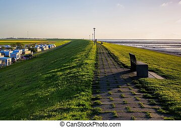 Neuharlingersiel dyke and camping place