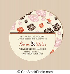 Round vintage floralwedding card