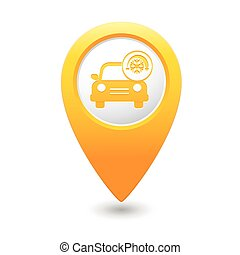 Car service. Car with air conditioner icon on yellow map...