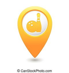Map pointer with bowling icon Vector illustration