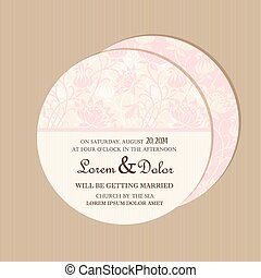 Round vintage floral wedding card