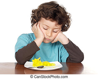 child eating boring food a over white background