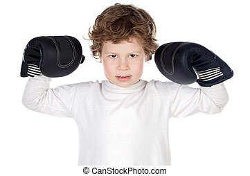 boy with boxing gloves - adorable boy defending itself of...