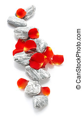 Stones with rose petals - Grey stones with rose petals...