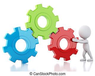 Engrenagem, negócio, pessoas, mecanismo, branca,  3D