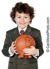 adorable child with its savings in its money box of piggy -...