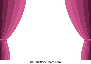 Pink curtain opened on a white background. Simple flat...