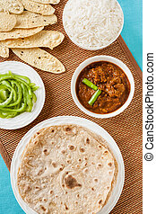 Mutton rogan josh meal - Overhead view of Indian mutton...