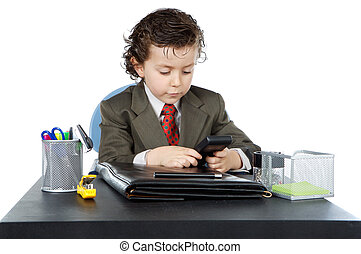adorable future businessman in your office a over white...