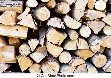 Fire wood background texture, firewood in a pile