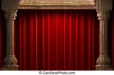 cortinas, veludo, atrás de, madeira, vermelho, antigas, colunas