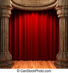 red velvet curtains behind the old wood columns