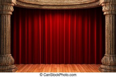 red velvet curtains behind the old wood columns made in 3d