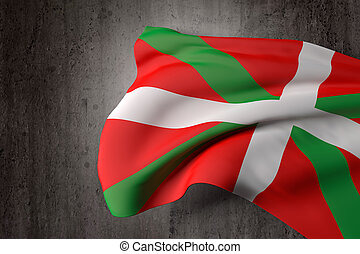 Basque flag - Old and dirty Basque country flag on a dirty...