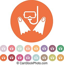 The scuba mask and flippers icon. Diving symbol. Flat - The...