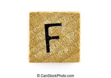 木制, 字母表, 塊, 信件,  F