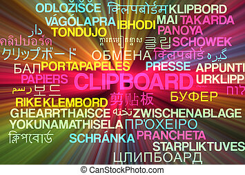 Clipboard multilanguage wordcloud background concept glowing...