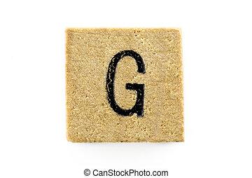 木制, 字母表, 塊,  g, 信件