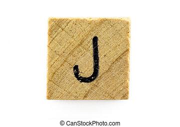 木制, 字母表,  J, 塊, 信件