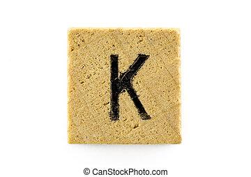 木制, 字母表,  K, 塊, 信件