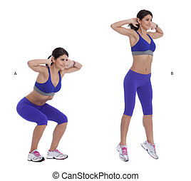 Jump squats - Step by step instructions: Stand with your...
