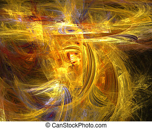 Abstract fractal design Yellow, red and violet strokes on...