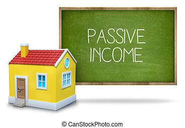 Passive income on blackboard - Passive income text on...