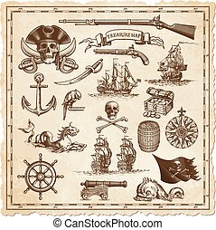 Treasure map vector illustrations - A collection of very...