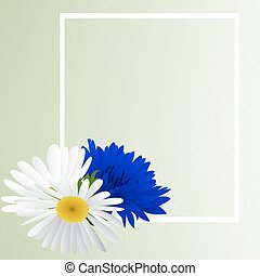 Template card with cornflower and camomile - Template card...
