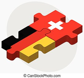 Germany and Switzerland Flags in puzzle isolated on white...